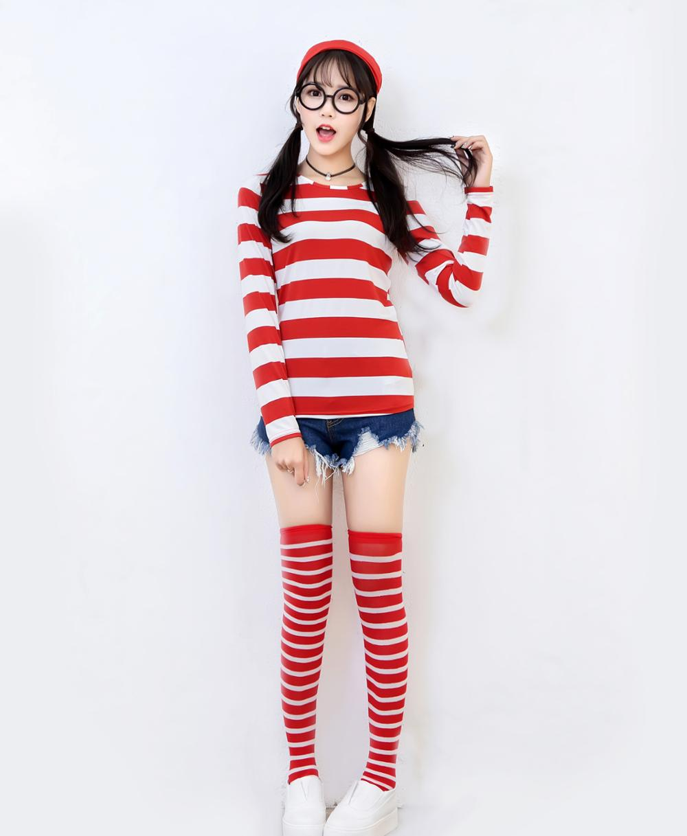 Man Women Kid Halloween Cartoon Wally Costume Family Party Storybook Wally Cosplay Uniform Shirt+Hat+Glasses