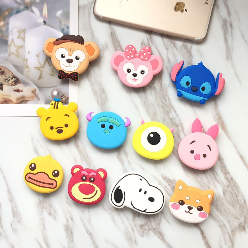 TJHSZKL Universal Cute Cartoon Mobile Phone Grip Holder Telescopic Mobile Phone Holder Finger Holder For All Mobile Phones