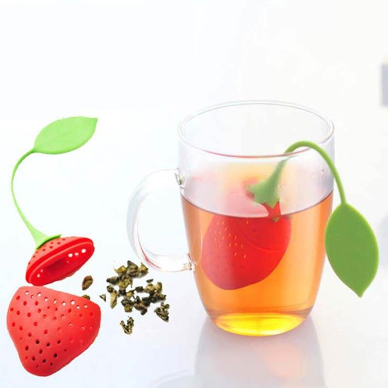 1 Uds suministros de cocina colador de té no-tóxicos molde de silicona con forma de fresa Infusor de té bolsa de té accesorio para tetera