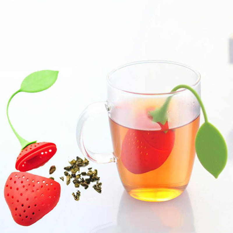 1 pièces fournitures de cuisine passoire à thé Non toxique fraise forme Silicone infuseur à thé sachet à thé accessoire théière