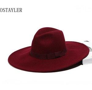 Image 3 - Chapéu tipo fedora, chapéu super grande, aba longa, preto, cáqui, feminino, laço, jazz, lã australiana, casual, para inverno sombrero