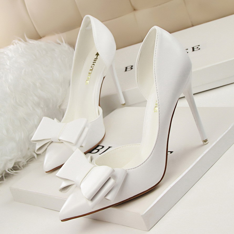 BIGTREE Spring Autumn fashion sweet women pumps Bow tie Shallow mouth Pointed side Hollow 10.5 CM Fine high heels shoes bigtree summer autumn women pumps elegant show thin heels stiletto suede pointed side hollow female high heels shoes g3168 6