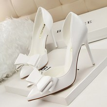 BIGTREE Spring Autumn fashion sweet women pumps Bow tie Shallow mouth Pointed side Hollow 10.5 CM Fine high heels shoes