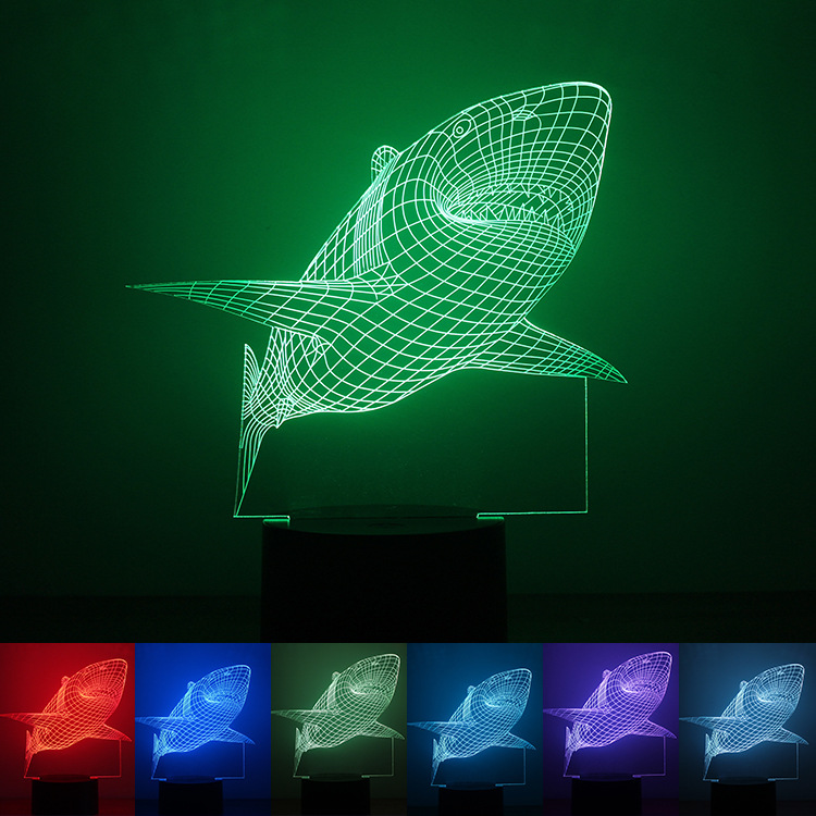 Hot 3D Shark Illusion Decor Bulbing Sensor Night Light LED USB Electronic Home Gadget Bedroom Table Lamp Nightlight Child Gift avengers hulk led night light 3d lamp luminaria de mesa lighting toy kids room led usb electronic gadget home decor bed light