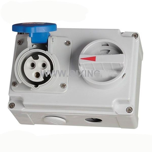 QX7274 IP44 3P 16A 230V 6h Industrial Electric Interlock Switch Socket Mechanical Interlock Explosionproof Plug and Socket dhl ems b anner si ls42dmg sils42dmg interlock switch ac15 230v 2 5a a1