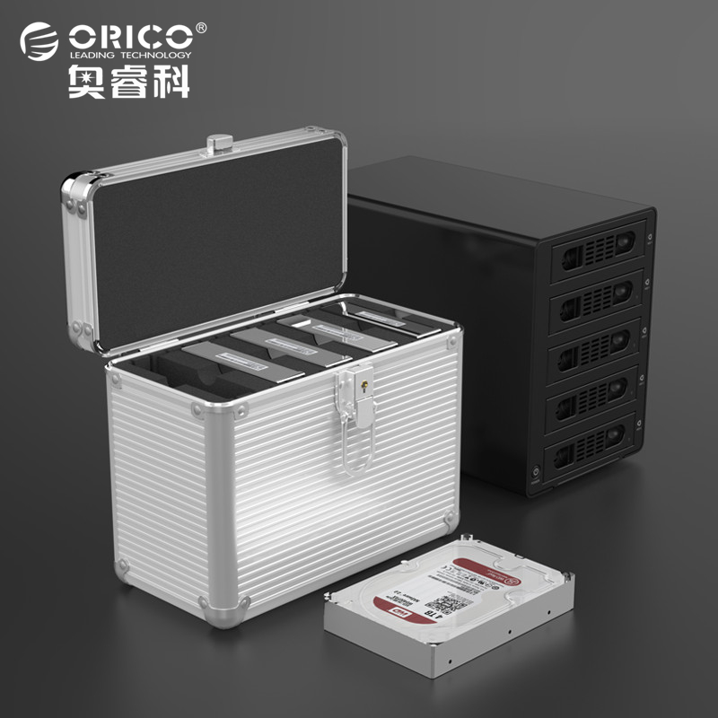Orico BSC35 Aluminum 5 / 10 bay 3.5-inch Hard Drive Disk Protection Portable Box Storage with Locking Silver (No Hard Disk ) orico phx 35 3 5 hdd protection box hard disk drive protecter case purpled