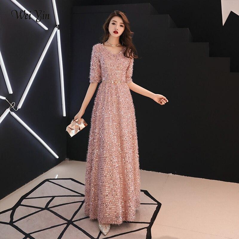 Weiyin Or Formelle Robes De Soirée V Cou Long Rose Paillettes De Mariage-Invité de Fête 2019 Maxi Robe De Soirée Robe WY1276