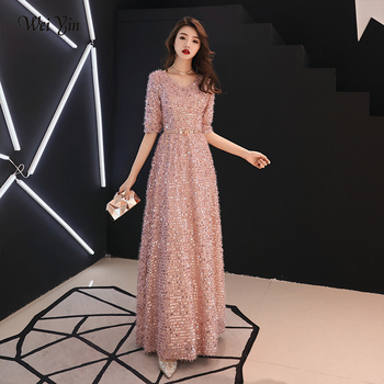 weiyin Gold Formal Evening Dresses V Neck Long Pink Sequin Wedding-Guest Party 2019 Maxi Evening Gown Dress WY1276