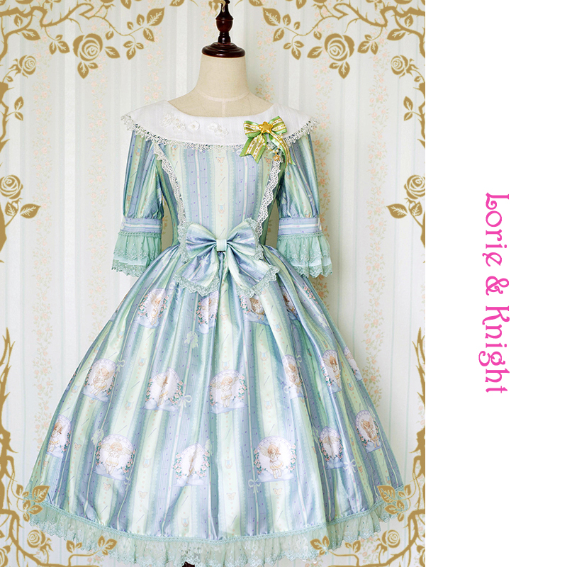 fcdfe750 Little Angle & Melody Printing Dolly Collar Half Sleeves Princess Girl OP  Sweet Lolita Dress Tea Party Dress