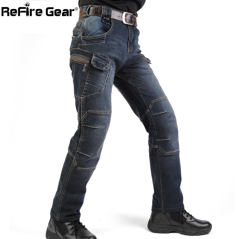 New IX7 SWAT Military Style Cargo Jeans Men Casual Motorcycle Denim Biker Jeans Stretch Multi Pockets Tactical Combat Army Jean