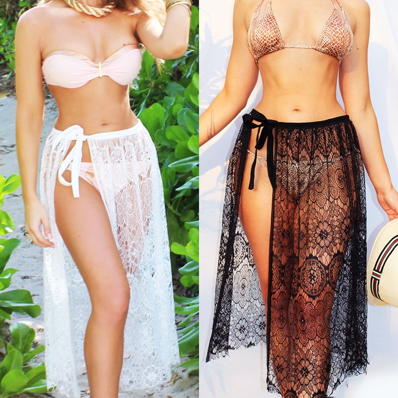 1pcs Summer Women Sexy Swimsuit Lace Crochet Bikini Cover Up Swimwear Beach Dress Pareo Beach Tunic Cover ups Capes Dress