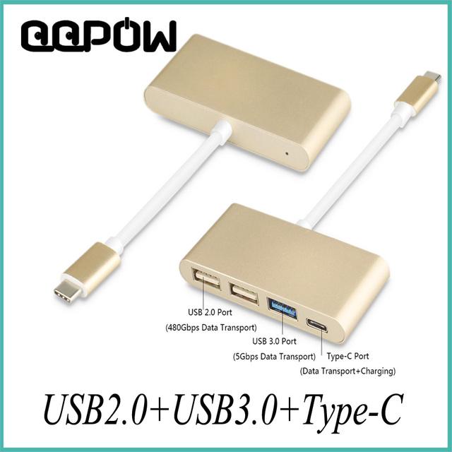 Multi-função USB 3.1 Tipo-C para 4 Portas USB 2.0 USB 3.0 Tipo C cabo de Dados de Carregamento Adaptador para MacBook Chromebook Pixel