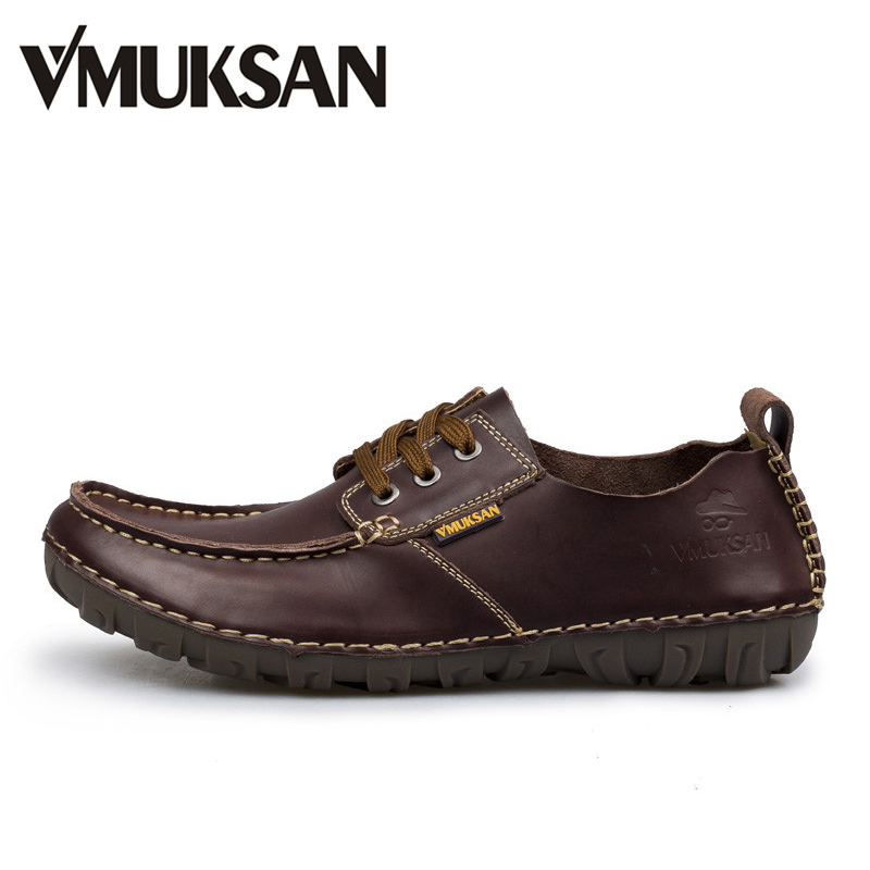 VMUKSAN Brand Men Shoes High Quality Split Leather Mens Shoes Casual Brown Fashion Mens Casual Shoes blaibilton 2017 men shoes fashion high top quality pu personality letter platform mens shoes casual designer black blue sd6117