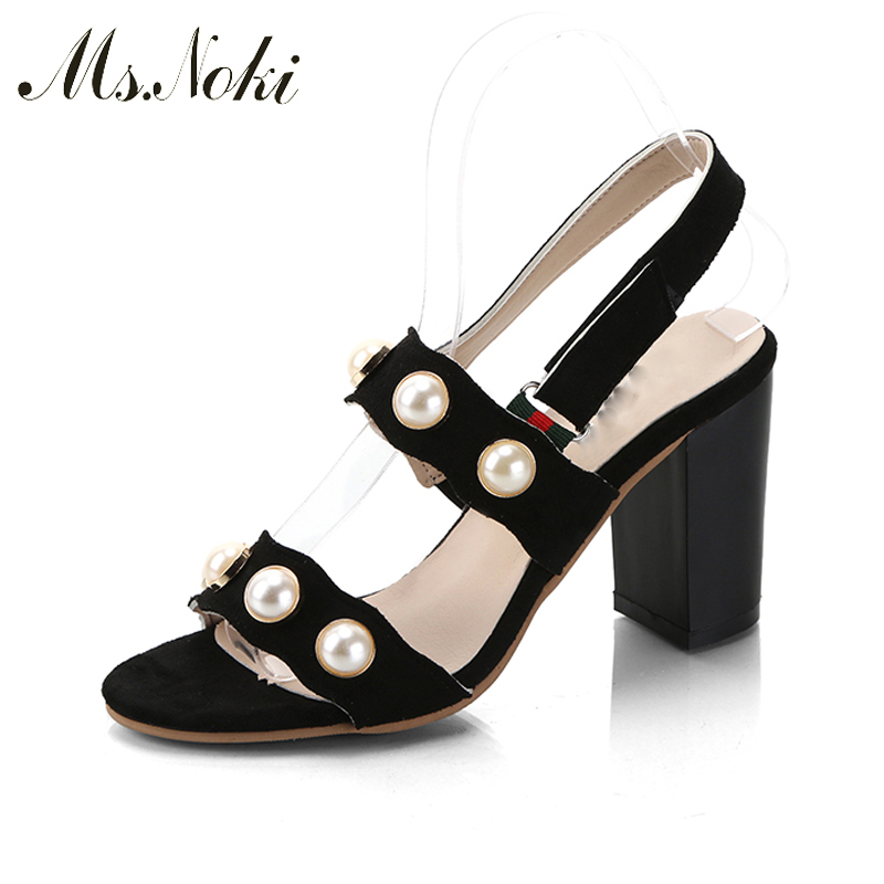 Flock 2017 Summer Pearl Casual Style Jelly Shoes Women Sandals Rivet Pearl Fashion Woman Shoes Buckle Strap Ms.Noki xiaying smile summer woman sandals square cover heel woman pumps buckle strap fashion casual flower flock student women shoes