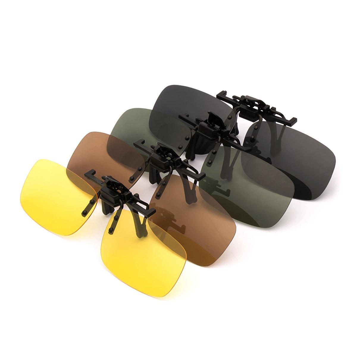 4-Pack Polarized Clip-on Plastic Sunglasses Lenses Outdoor Walking Driving Fishing Cycling Night Vision Yellow Grey Brown Green