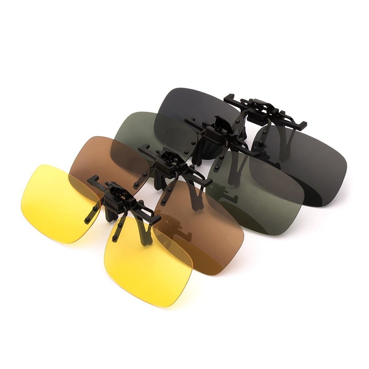 4-pacote polarizado clip-on lentes de óculos de sol de plástico ao ar livre andando dirigindo pesca ciclismo visão noturna amarelo cinza marrom verde