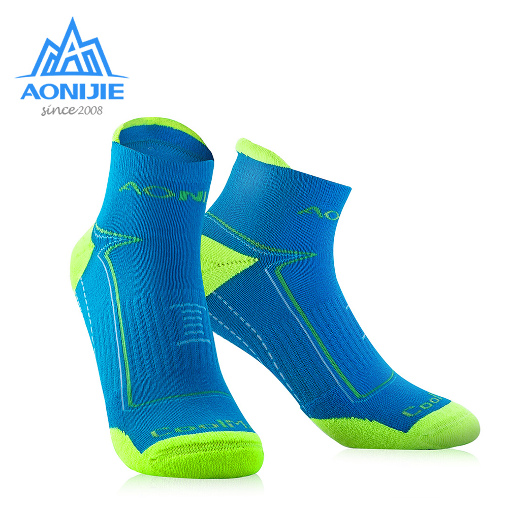 AONIJIE Outdoor Sports Running Athletic Performance Tab Training Cushion Quarter Compression Socks Heel Shield Cycling E4090