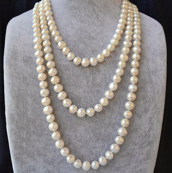 Charming Long Pearl Necklace,60 Inches White Color AA 9-10MM Freshwater Pearl Necklace,Natural Pearl Jewellery