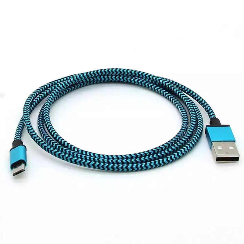 المصغّر USB كابل 1 m سريع شحن النايلون سبائك الألومنيوم USB مزامنة بيانات كابل للهاتف الروبوت محول كابل الشاحن لسامسونج كابل