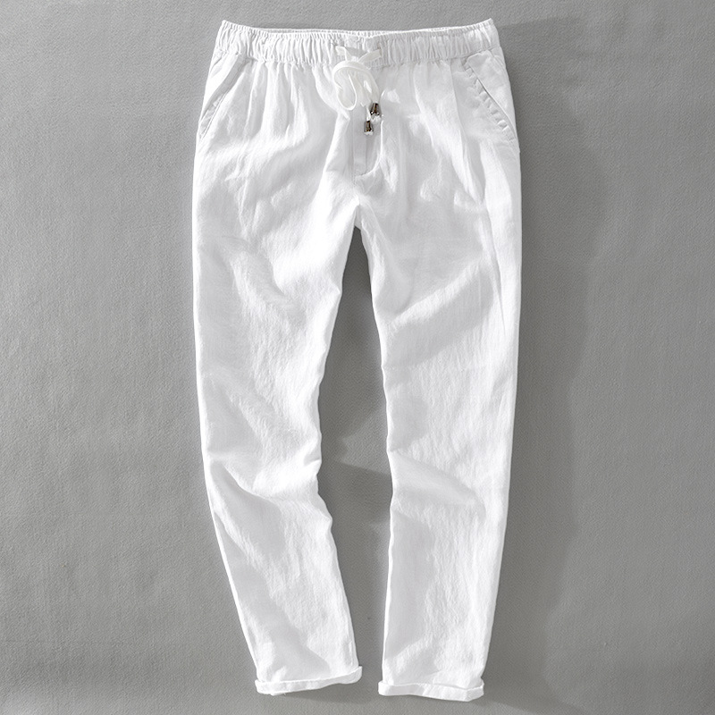 Brand New 100% Linen Ankle-Length Pants Men Spring Summer Flax Men Trousers Big Size 30-40 Pants Male Pantalon Homme