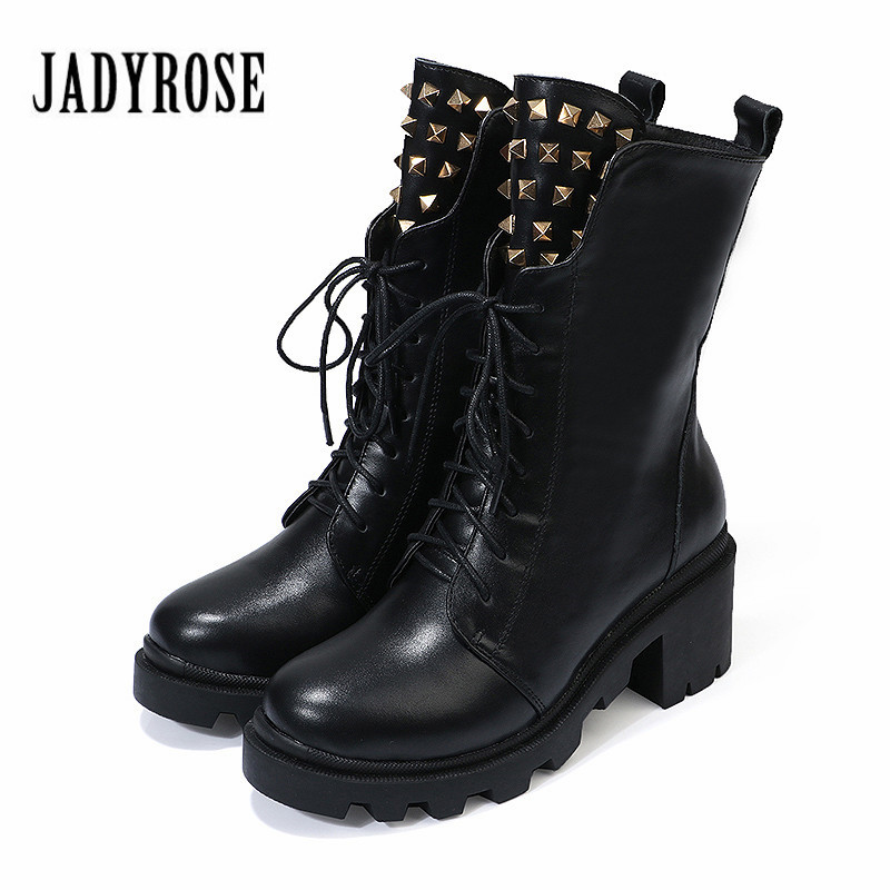 Jady Rose British Black Women Ankle Boots Genuine Leather Lace Up High Heel Botas Mujer Rivet Autumn Female Platform Martin Boot jady rose casual gray women ankle boots straps genuine leather short flat botas autumn winter female platform martin boot