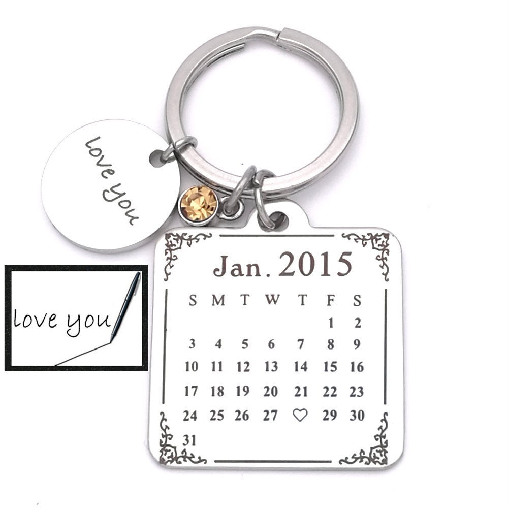 SALE Sterling Calendar Keychain , Gift For Him, Calendar Key Chain, Wedding Favors, Save The Date, Anniversary, Valentines gift