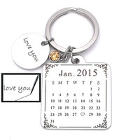 Personalized Calendar Keychain Custom Date Save The Date Key Chain Significant Date Marker Custom Anniversary Gift