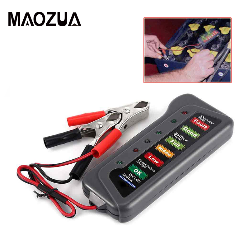 High Quality 12V Digital Battery / Alternator Tester With 6 LED Lights Display Car Vehicle Battery Diagnostic Tool