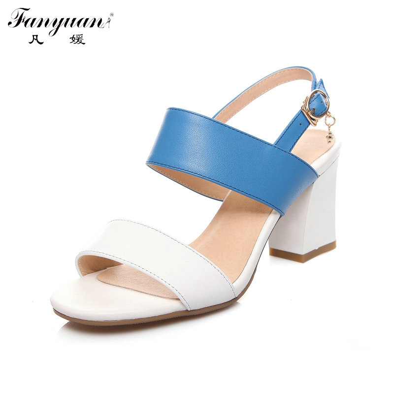 ФОТО 2017 Summer Hot Mixed Colors Shoes Women Gladiator Sandals Back Strap Thick High Heels Open Toe Genuine Leather Shoes Big Size
