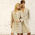 Мужчины и Женщины Пара Дышащий Натуральный Лен Хлопок Халат Пижамы Халат Гостиная Халат Хан Пара Одежда Ночная Рубашка