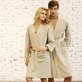 Homens e Mulheres Casal Respirável Linho Natural do Algodão Roupão Sleepwear Robe Salão Camisola Robe Khan Roupas Vapor