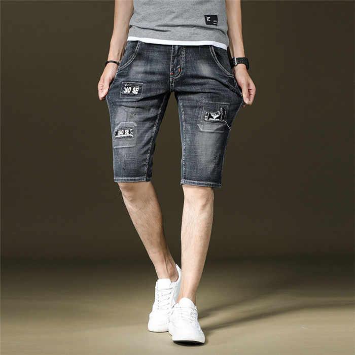 Letni mężczyzna Casual Cotton połatany Denim szorty mężczyźni list wydrukowano szorty męskie miękkie elastyczne krótkie spodnie duży rozmiar 36 38, t6812