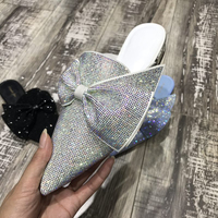 Asymmetrical Butterfly knot Women Slippers Luxury Crystal Rhinestone Pointed Toe Woman Flat Shoes Elegant Wedding Slides Shoes
