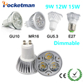 1pcs Super Bright 9W 12W 15W GU10 LED Bulbs Light 110V 220V Dimmable Led Spotlights Warm/Cool White GU 10 base LED downlight