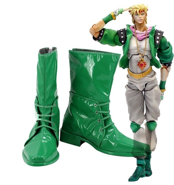 JOJO'S BIZARRE ADVENTURE 2 Caesar Anthonio Zeppeli Boots Cosplay Shoes Green Boots Custom Made