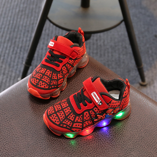 Fashion Spider Man Kids Shoes With Light Air Cushion Damping Children Luminous Sneakers Boy Girl Led Light Shoes Size 21-30