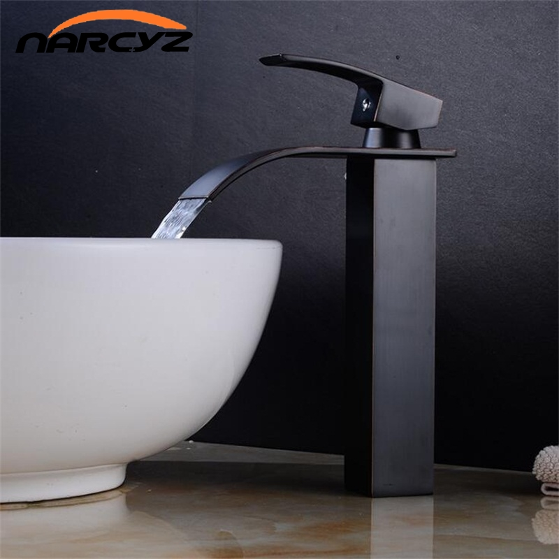 Basin Faucets Brass Gold Elegant Waterfall Bathroom Sink Faucet Single Lever Hole Deck Mount Big Square