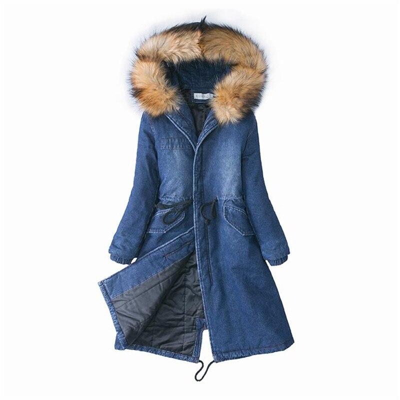 Col Taille Tops Mince Plus Fur À Étudiant Fourrure Manteaux Denim raccoon Femmes Femelle Chaud Capuchon Fox Hiver Veste De Fur Jeans 2019 Coton Manteau La Silver Parkas Épais u15cTKlFJ3