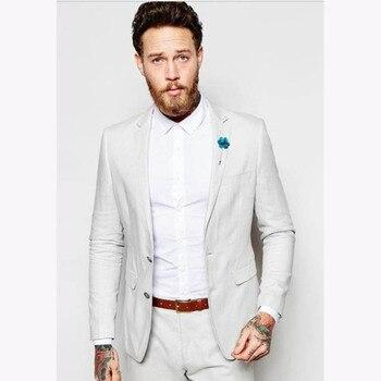 2019 Latest Coat Pants Designs Ivory Linen Mens Suit Summer Casual Slim Fit Tuxedo wedding suits for men 2 Pieces (Jacket+Pants)