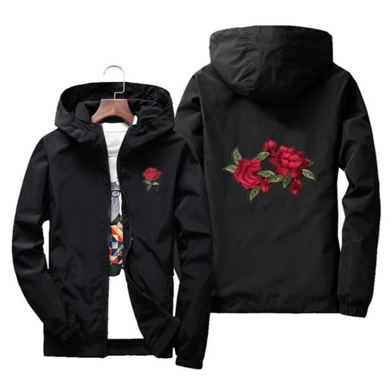 8a5d340be JOOBOX Embroidery Rose Flower windbreaker Jacket men Hooded bomber ...