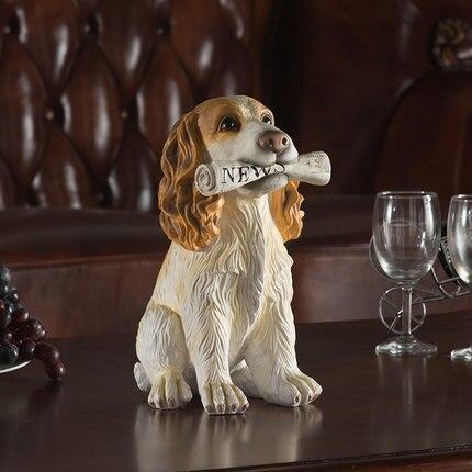 Chien fidèle cocker épagneul/labrador retriever/schnauzer figurines statue avec os dans la bouche éclater dans l'argent résine animal ornement