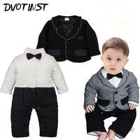 Dvotinst Baby Boys Clothes Winter Gentleman Romper Coat 2pcs Set Outfits Infantil Event Wedding Jumpsuit Party