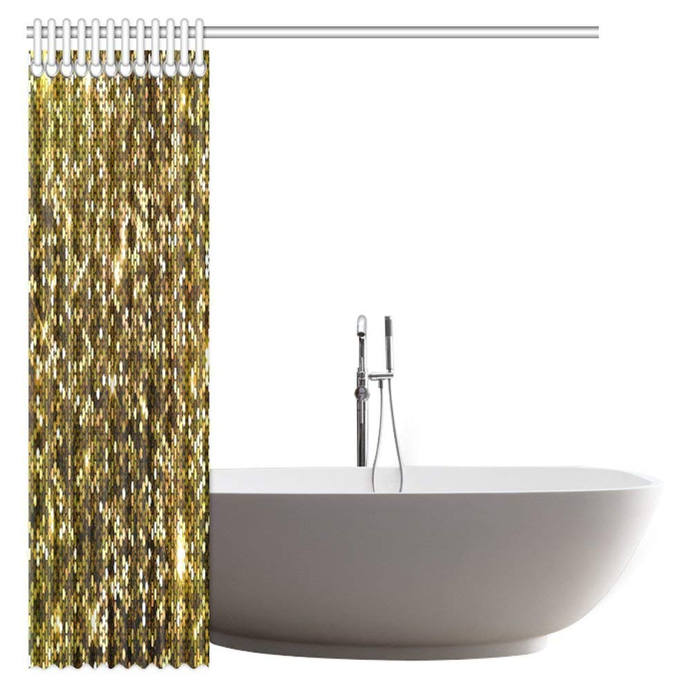 Aliexpress Buy Aplysia Gold Sparkle Glitter Fabric Bathroom Shower Curtain With Hooks 66 X 72 Inches From Reliable Curtains Suppliers On