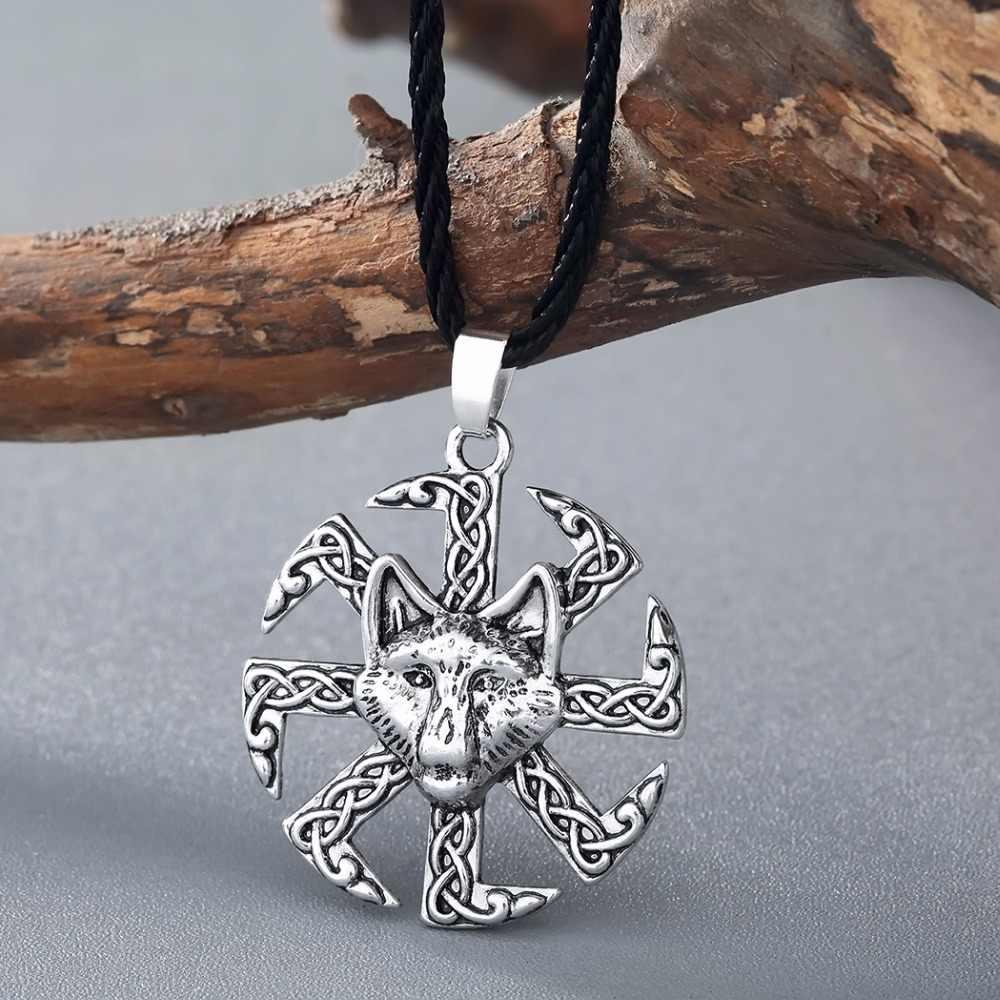 QIMING Giant Wolf Necklaces Kolovrat Pendant Necklace Viking Hip Hop Men Jewelry Teen Amulet Talisman za Collier Women Necklace