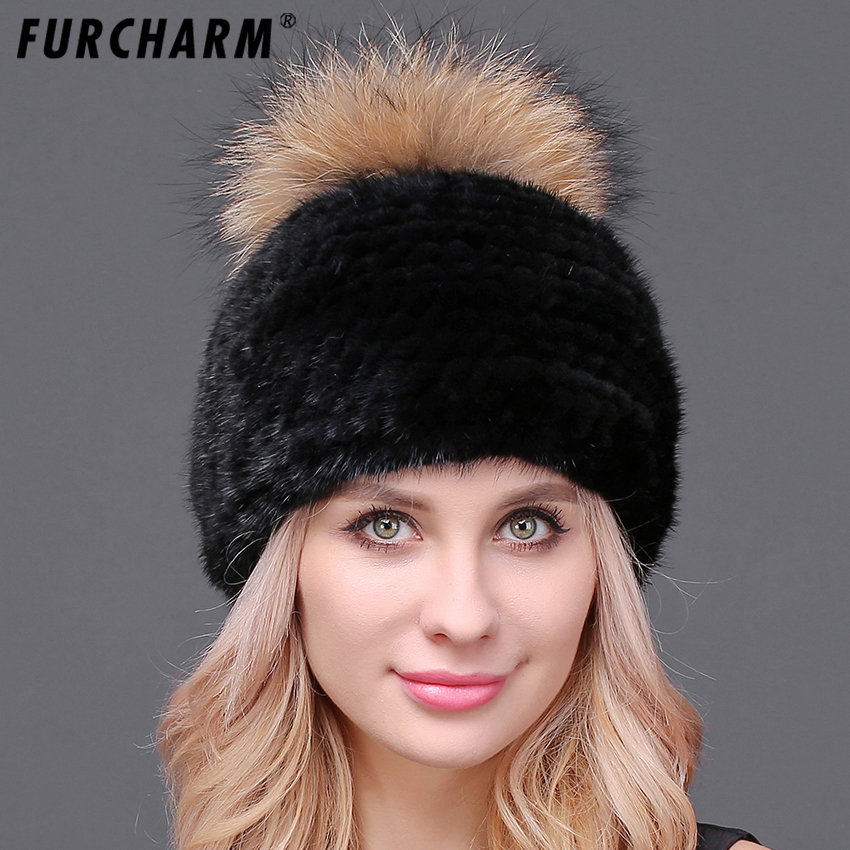Winter Mink Hat for Girls with Fluffy Raccoon Fur Pompom Ball Real Mink Fur Knitted Hat Female Winter Real Mink Fur Women's Hat 12cm real mink fur ball keychain on the keys fluffy real fur pompom car for couples fur ball key chains fur cap beanie