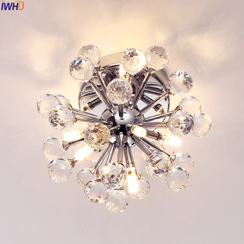 IWHD K9 Modern Crystal LED Ceiling Lights Fixtures Home Lighting Bedroom Living Room Light Lustres De Sala Cristal tiffany mediterranean style peacock natural shell ceiling lights lustres night light led lamp floor bar home lighting