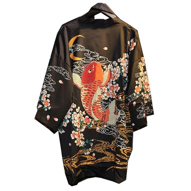 nouveau mode femmes kimono japonais vintage nouveaut poissons imprimer long kimono tops femme. Black Bedroom Furniture Sets. Home Design Ideas