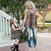 2017 Mother Daughter Dress Leopard Print Vest Tank Shirts Baby Girl Toddler Summer Clothes Kids Clothing