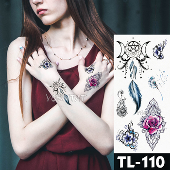 Water Transfer Deep pink henna lace rose flower Temporary Tattoo Sticker butterfly Pattern body art Waterproof Fake Flash Tattoo 5