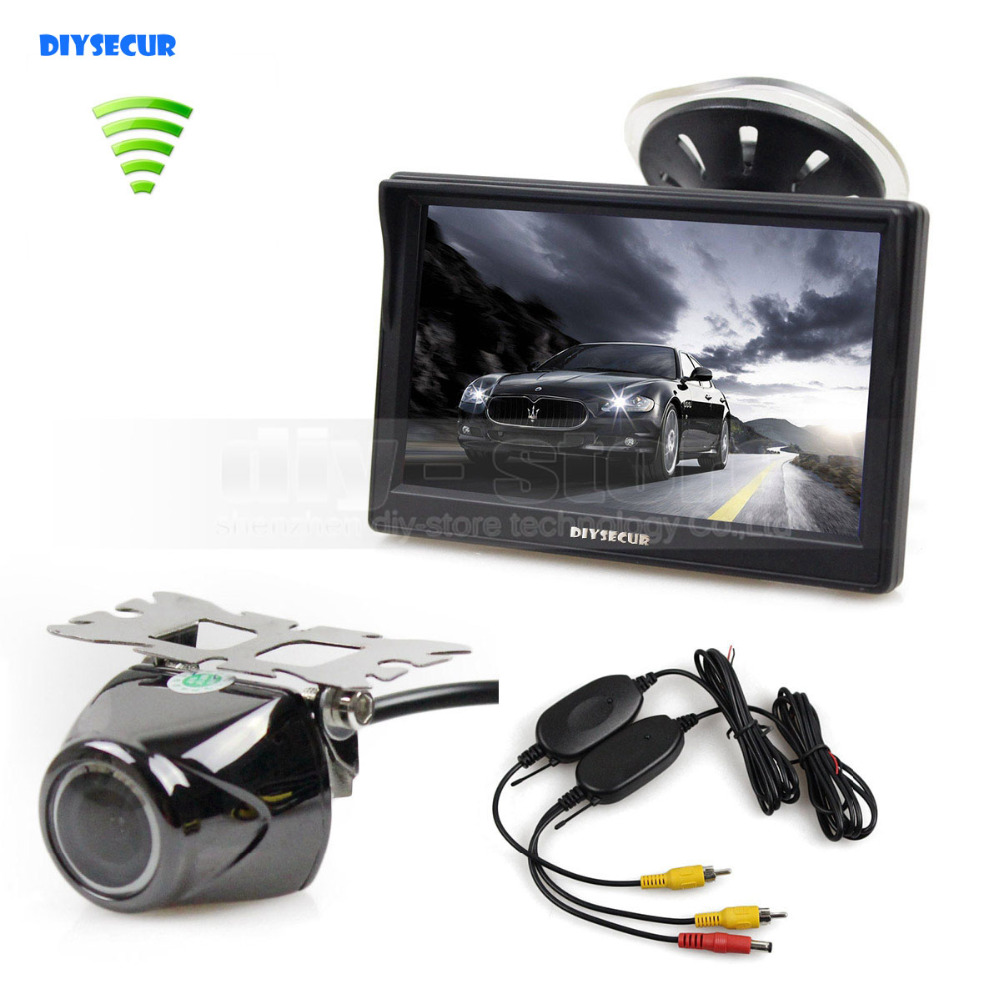 DIYSECUR Wireless 5 Inch TFT LCD Display Car Monitor with Waterproof Night Vision Security Metal Car Rear View Camera diysecur 4pin dc12v 24v 7 inch 4 split quad lcd screen display rear view video security monitor for car truck bus cctv camera